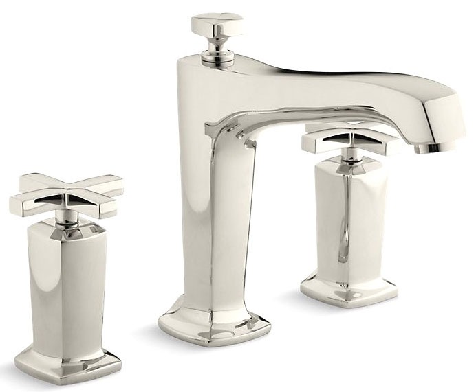 Tub Faucet with Non-Diverter Spout & Two Cross Handle - Margaux, Vibrant Polished Nickel, Deck Mount