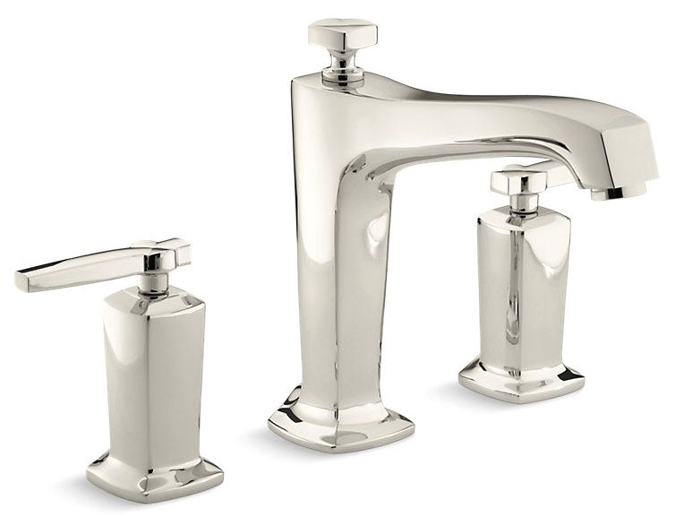 Tub Faucet with Non-Diverter Spout & Two Lever Handle - Margaux, Vibrant Polished Nickel, Deck Mount