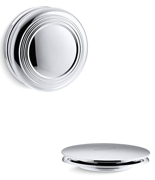 Pureflo Bath Drain Trim - Trad Push Polished Chrome