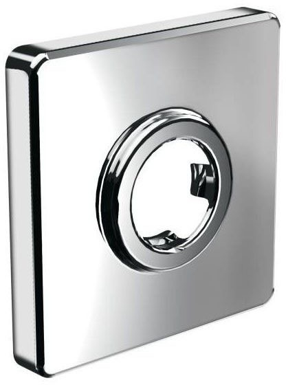 Square 1-Hole Shower Arm Flange - Chrome Plated