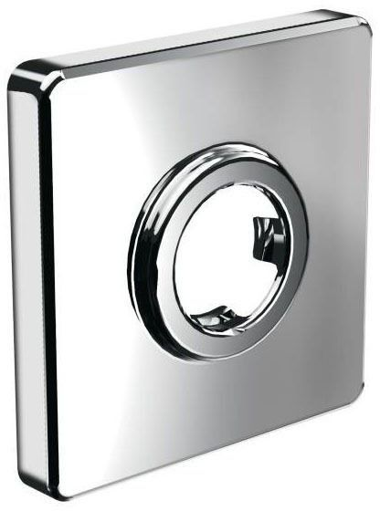 Square 1-Hole Shower Arm Flange - Chrome Plated