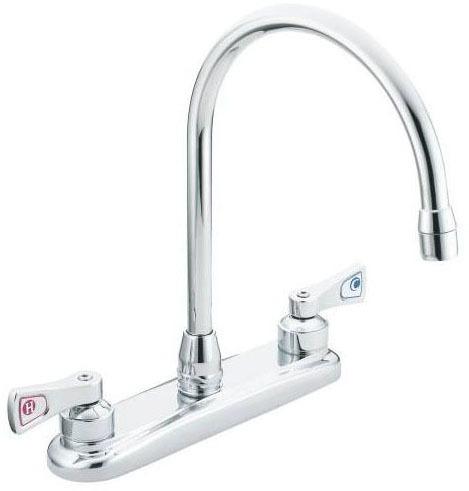 Kitchen Faucet with Gooseneck Spout & Two Lever Handle - M-DURA, Chrome Plated, Deck Mount