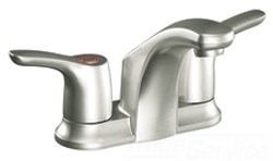 Bathroom Sink Faucet with Two Lever Handle - Baystone, Brushed Nickel, Deck Mount, 1.5 GPM