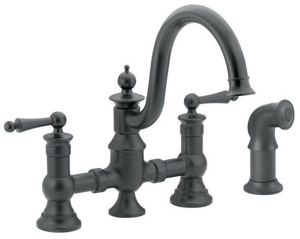 Kitchen Faucet with High-Arc Spout & Two Lever Handle - Waterhill, Wrought Iron, Deck Mount, 1.5 GPM