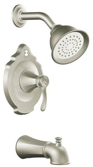 Tub and Shower Faucet with Diverter Spout & Single Lever Handle - Vestige / Posi-Temp, Brushed Nickel, Wall Mount, 1.75 GPM