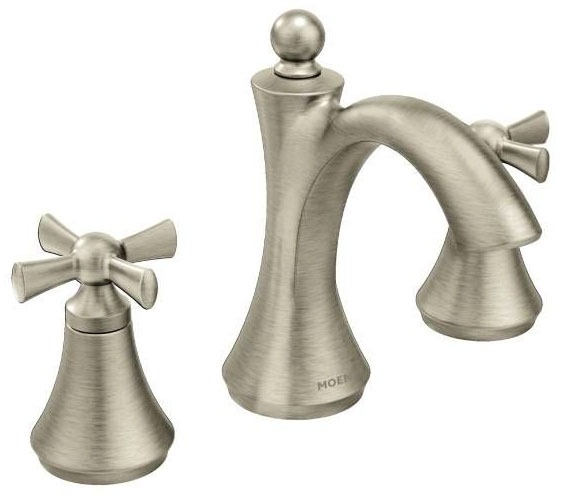 Bathroom Sink Faucet with High-Arc Spout & Two Cross Handle - Wynford, Brushed Nickel, Deck Mount, 1.2 GPM