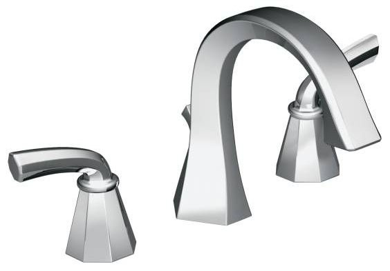 Bathroom Sink Faucet with High-Arc Spout & Two Lever Handle - Felicity, Chrome Plated, Deck Mount, 1.2 GPM