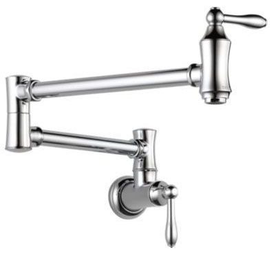 Dual Joint Pot Filler with Two 1/4 Turn Handle - Chrome Plated, 4 GPM