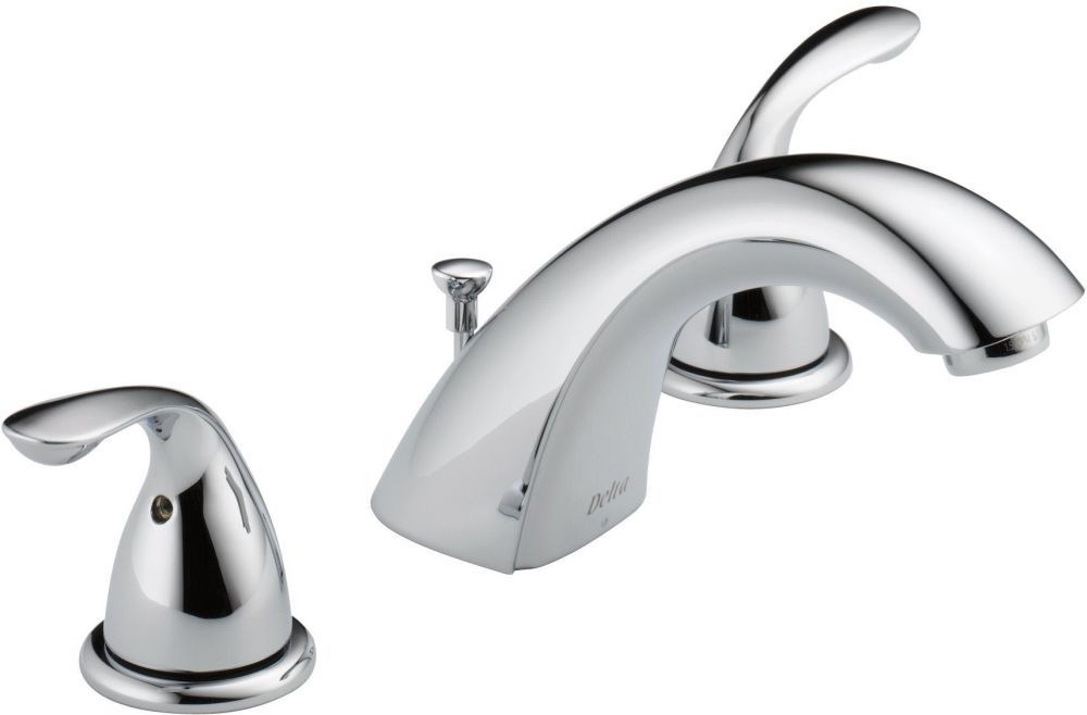 Bathroom Sink Faucet with Rigid Spout & Two Lever Handle - Classic, Chrome Plated, Deck Mount, 1.5 GPM