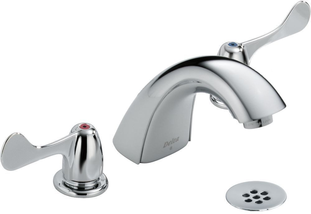 Bathroom Sink Faucet with Rigid Spout & Two Wrist Blade Handle - Chrome Plated, Deck Mount, 1.5 GPM