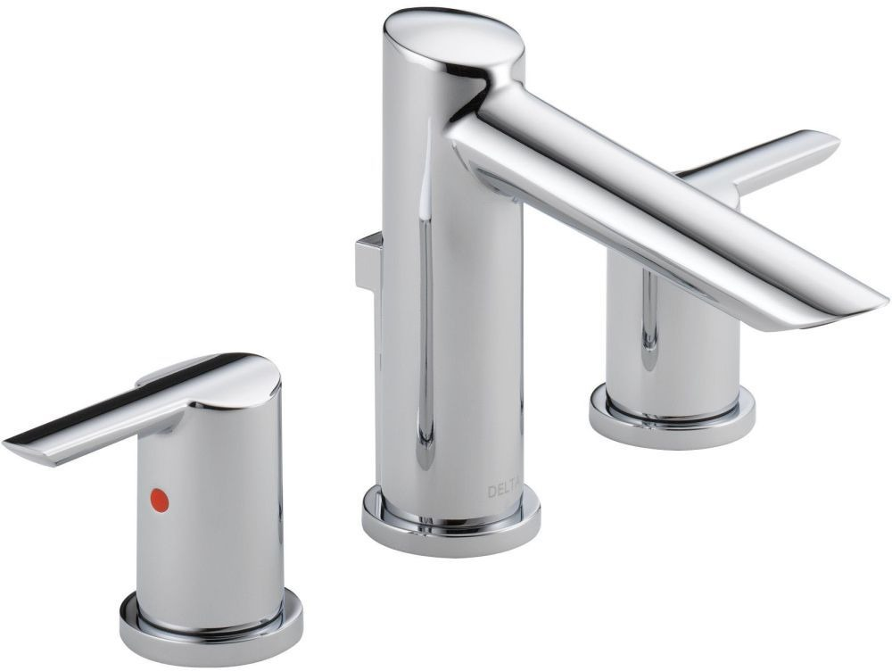 Compel Bathroom Sink Faucet with Two 1/4 Turn Lever Handle and Metal Pop-Up - Chrome Plated, 1.2 GPM