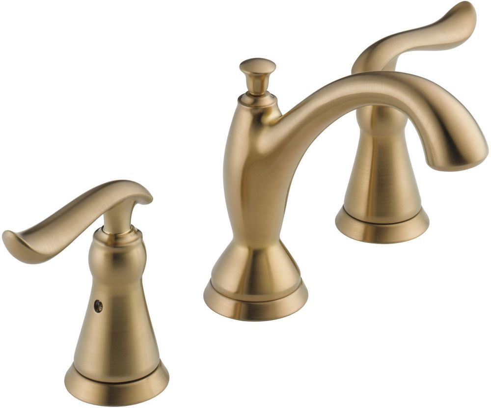 Linden Deck Mount Bathroom Sink Faucet - Two Handle, Widespread, Metal Pop-Up, Brilliance Champagne Bronze, 1.2 GPM