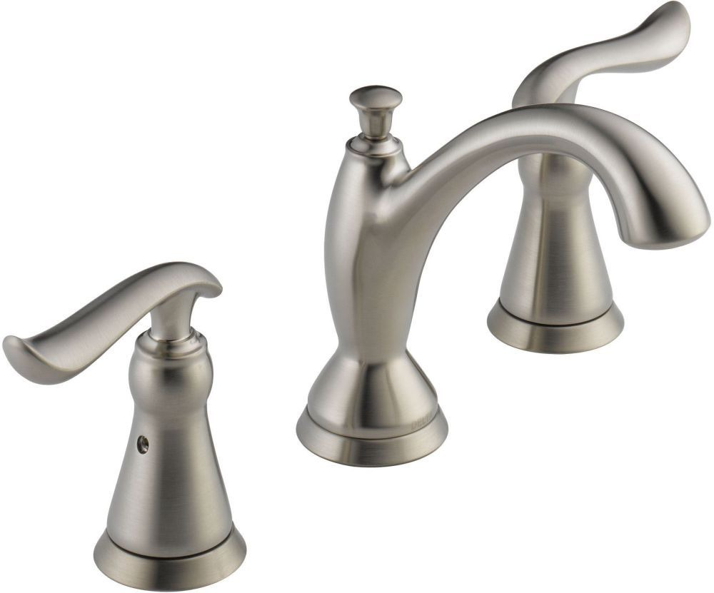 Linden Bathroom Sink Faucet with Two 1/4 Turn Lever Handle and Metal Pop-Up - Brilliance Stainless, 1.2 GPM