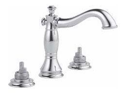 Cassidy Deck Mount Lavatory Faucet Less Handles - Two Handle, Wide Spread, Champagne Bronze