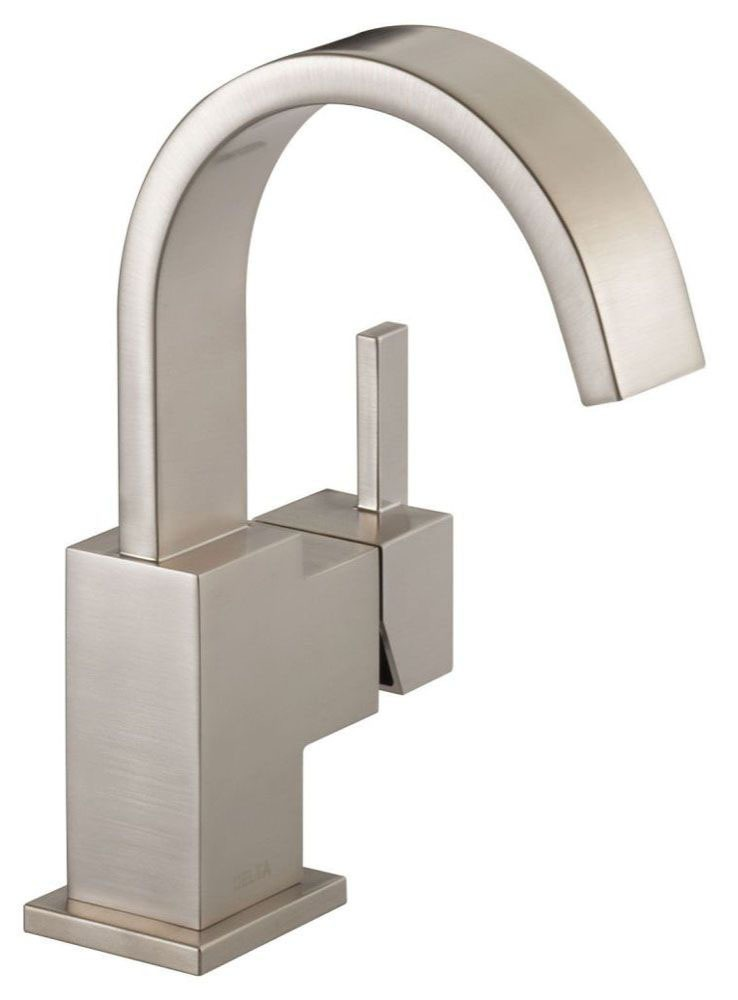 Vero Deck Mount Bathroom Sink Faucet - Single Handle, Metal Push Pop-Up, With Escutcheon, Brilliance Stainless, 1.2 GPM