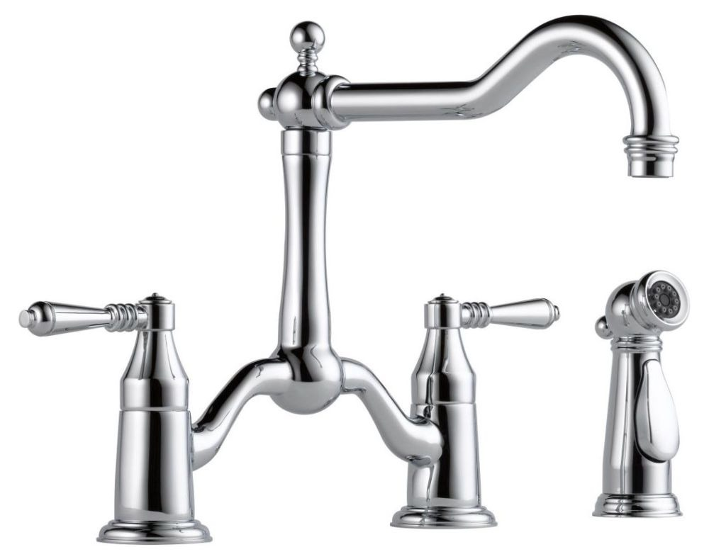 Kitchen Faucet with 360D Swing Spout & Two Lever Handle - TRESA, Polished Chrome, Deck Mount, 1.8 GPM