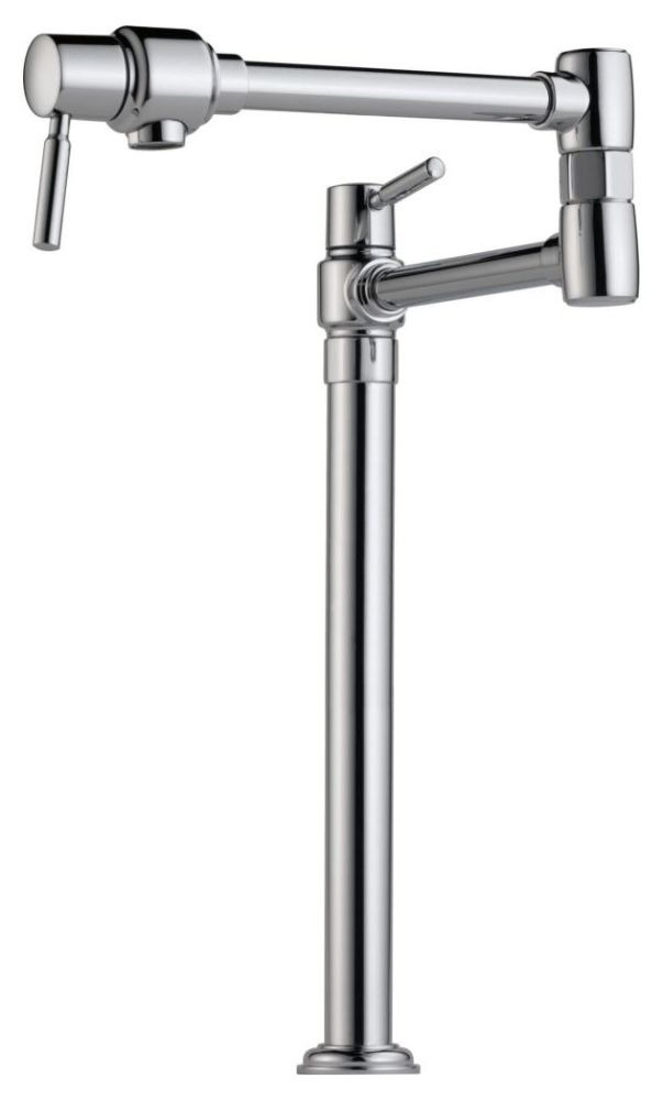 Pot Filler with Dual Joint Swivel Spout & Two Lever Handle - Euro, Polished Chrome, Deck Mount, 4 GPM