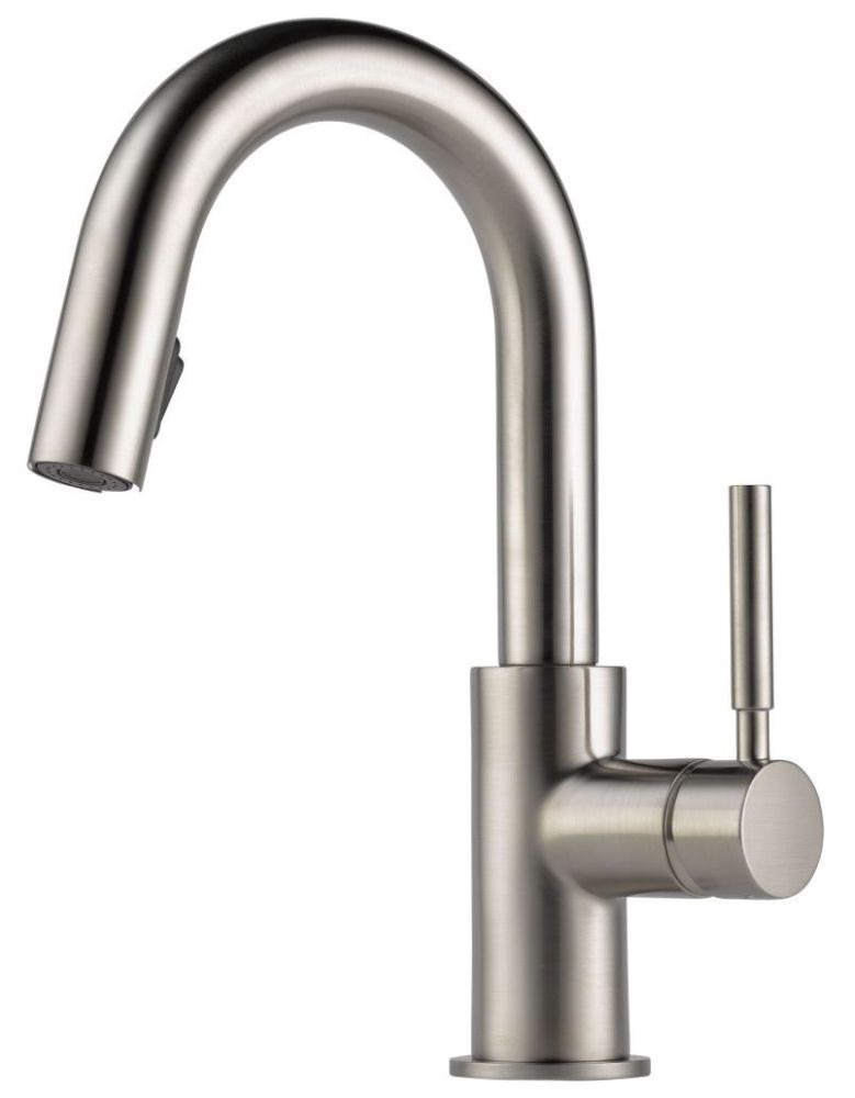 Bar Faucet with Pull-Down Spout & Single Lever Handle - SOLNA, Brilliance Stainless Steel, Deck Mount, 1.8 GPM