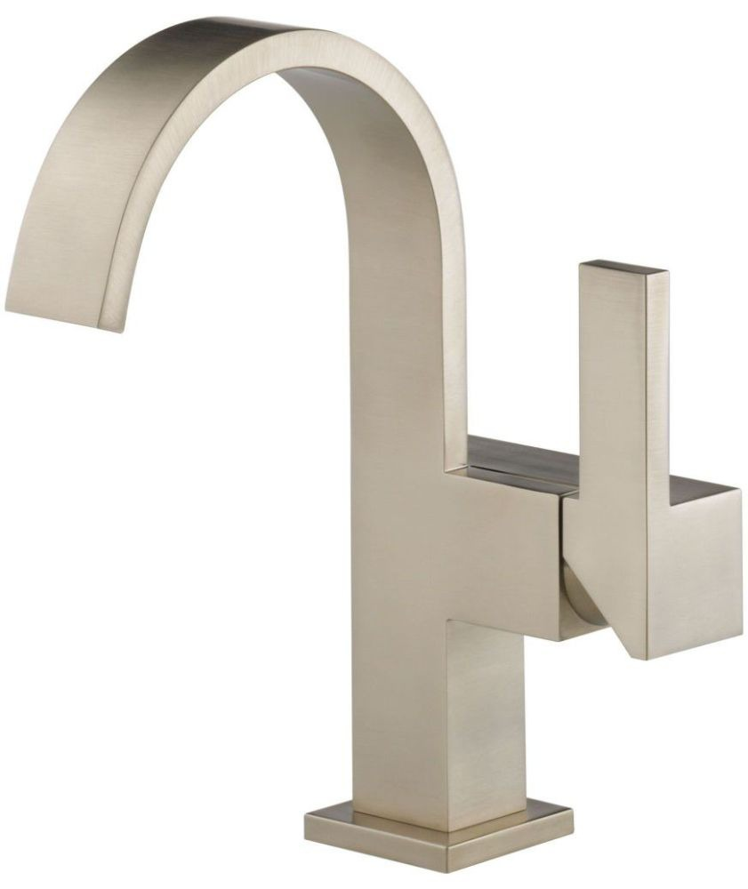 Bathroom Sink Faucet with Single Lever Handle - Siderna, Brilliance Brushed Nickel, Deck Mount, 1.5 GPM