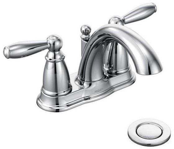 Bathroom Sink Faucet with Low-Arc Spout & Two Lever Handle - Brantford, Chrome Plated, Deck Mount, 1.5 GPM