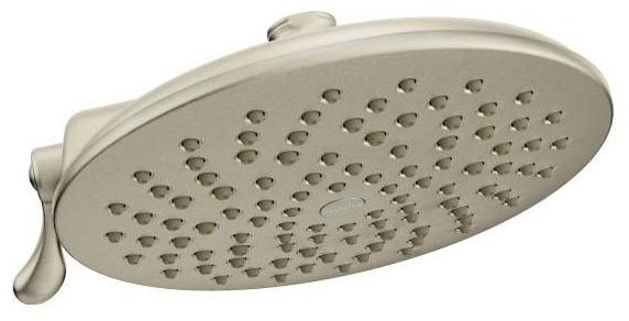 "Velocity Brushed Nickel Two-Function 8"" Diameter Spray Head Eco-Performance Showerhead Showerhead"