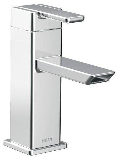 Bathroom Sink Faucet with Low-Arc Spout & Single Lever Handle - 90D, Chrome Plated, Deck Mount, 1.2 GPM