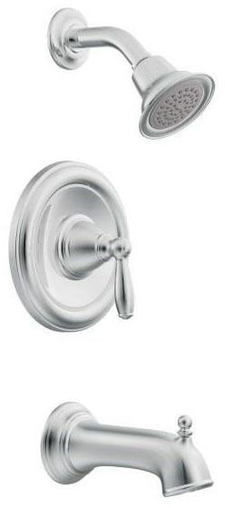 Tub and Shower Faucet with Diverter Spout & Single Lever Handle - Brantford / Posi-Temp, Chrome Plated, Wall Mount, 2.5 GPM