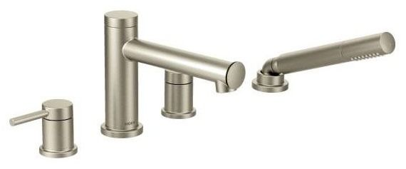 Align Brushed Nickel Two-Handle Roman Tub Faucet Includes Hand Shower