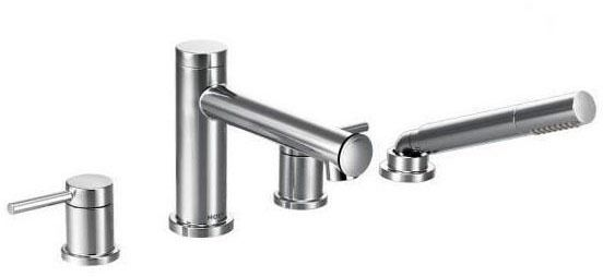 Align Chrome Two-Handle Roman Tub Faucet Includes Hand Shower