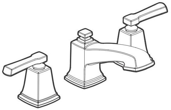 Bathroom Sink Faucet with Two Lever Handle - Boardwalk, Spot Resist Brushed Nickel, Deck Mount, 1.5 GPM