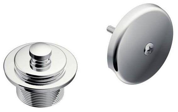 Round Push-N-Lock Tub/Shower Drain Cover, Chrome Plated