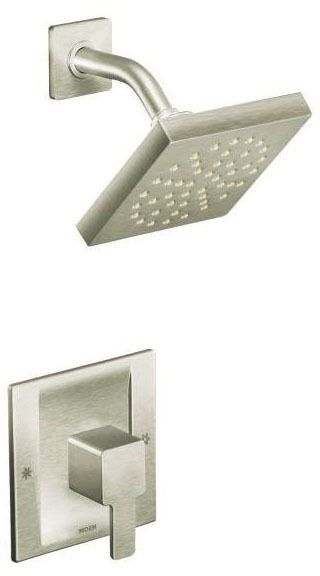 Shower Trim with Single Lever Handle - 90 Degree / Moentrol, Brushed Nickel, Wall Mount, 2.5 GPM