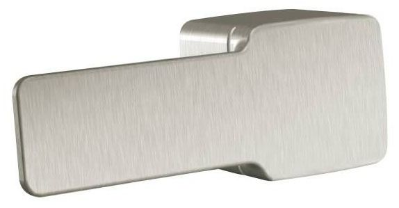 """5.91"""" Plastic Arm Toilet Tank Trip Lever - 90 Degree, Brushed Nickel Handle, Front / Side / Angle Mount"""