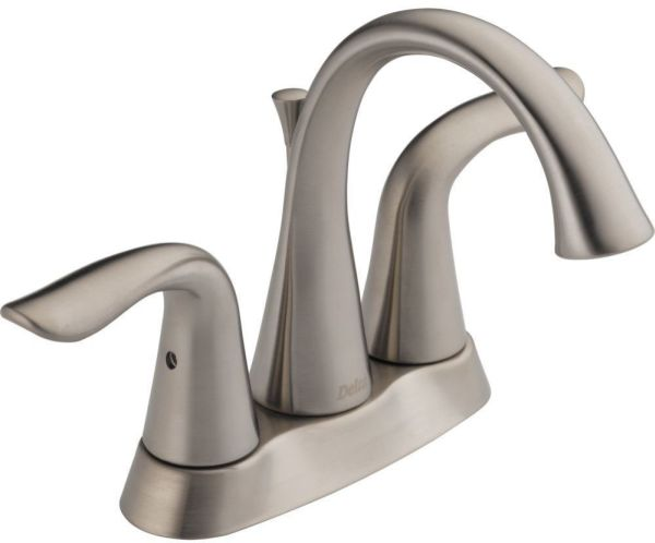 Lahara Bathroom Sink Faucet with Two 1/4 Turn Handle and Metal Pop-Up - Brilliance Stainless, 1.2 GPM