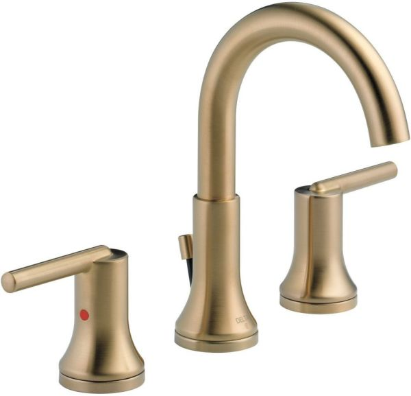 Trinsic Bathroom Sink Faucet with Two 1/4 Turn Handle and Metal Push Pop-Up - Brilliance Champagne Bronze, 1.2 GPM