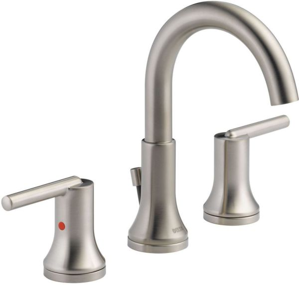 Trinsic Bathroom Sink Faucet with Two 1/4 Turn Handle and Metal Push Pop-Up - Brilliance Stainless, 1.2 GPM