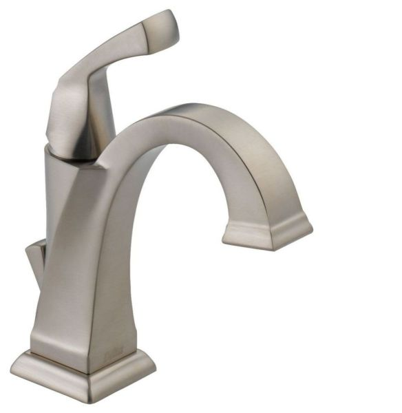 Dryden Deck Mount Bathroom Sink Faucet - Single Handle, Metal Pop-Up, With Escutcheon, Brilliance Stainless, 1.2 GPM