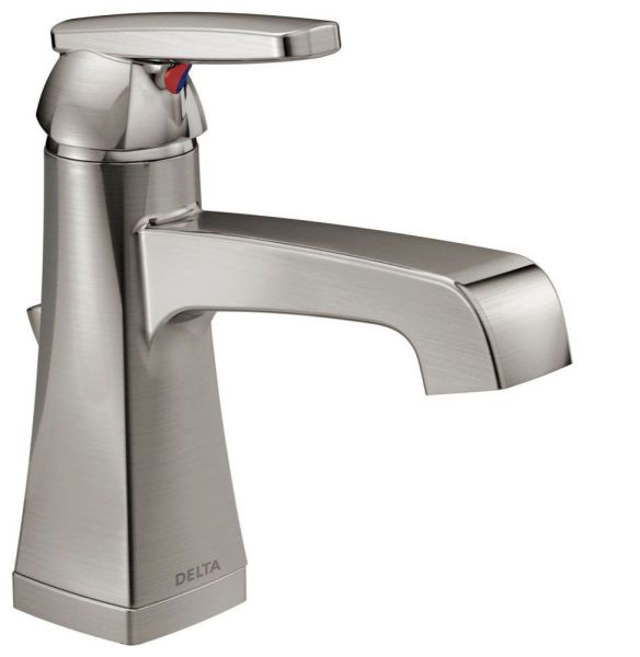 Ashlyn Deck Mount Bathroom Sink Faucet - Single Handle, Metal Pop-Up, With Escutcheon, Brilliance Stainless, 1.2 GPM