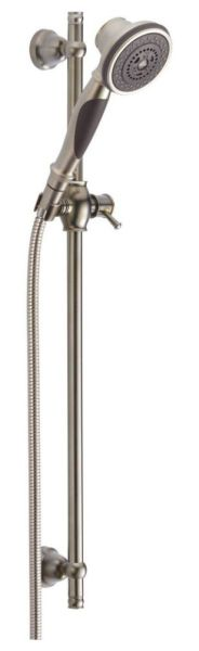"""1/2""""-14 NPSM Hand Shower - Brilliance Stainless Steel, ABS, 3-Way, 2 GPM at 80 psi"""
