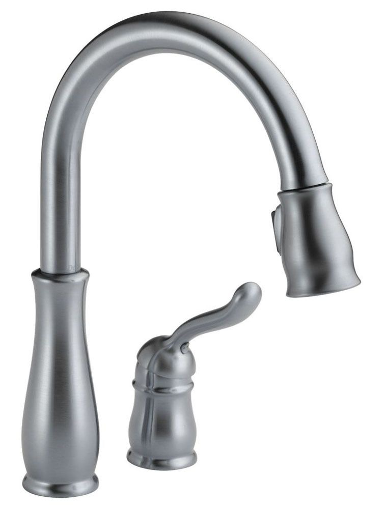 Kitchen Faucet with High-Arc Spout & Single Lever Handle - Leland, Arctic Stainless Steel, Deck Mount, 1.8 GPM