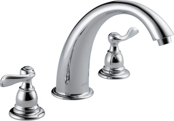 Tub Trim with Rigid Spout & Two Lever Handle - Windemere, Chrome Plated, Deck Mount