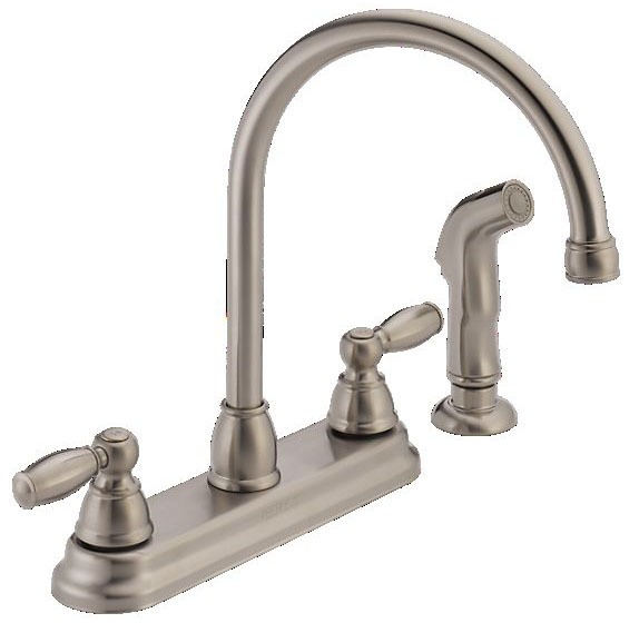 Kitchen Faucet with High-Arc Spout & Two Lever Handle - APEX, Stainless Steel, Deck Mount, 1.8 GPM