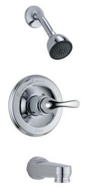 Tub and Shower Trim with Pull-Down Diverter Spout & Single Lever Handle - Classic / Monitor, Chrome Plated, Wall Mount, 2 GPM