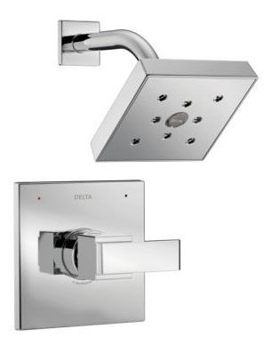 Shower Trim with Single Lever Handle - Ara / Monitor, Chrome Plated, Wall Mount, 2 GPM
