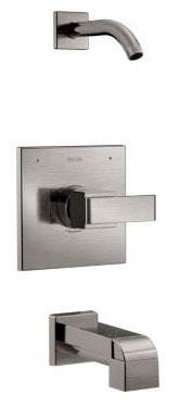 Tub and Shower Trim with Pull-Up Diverter Spout & Single Lever Handle - Ara / Monitor, Brilliance Stainless Steel, Wall Mount, 1.75 GPM