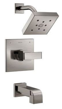 Ara Tub and Shower Trim Kit - Monitor 14, Single Lever Handle, H2Okinetic Head, Pull-Up Diverter Spout, Brilliance Stainless, 1.75 GPM