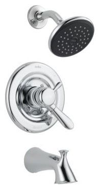 Lahara Tub and Shower Trim Kit - Monitor 17, Single Lever Handle, Pull-Up Diverter Spout, Chrome Plated, 1.75 GPM