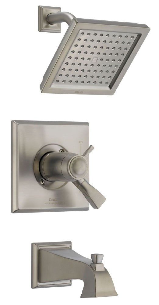 Dryden Tub and Shower Trim Kit - TempAssure 17T, Single Lever Handle, Pull-Up Diverter Spout, Brilliance Stainless, 2.5 GPM