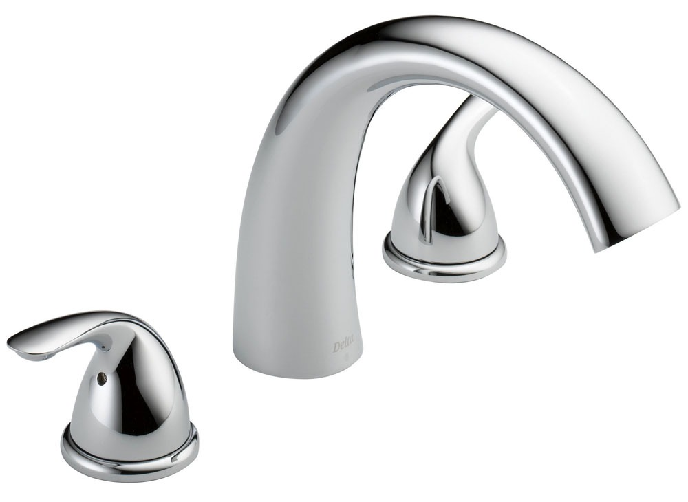 Tub Trim with Rigid Spout & Two Lever Handle - Classic, Chrome Plated, Deck Mount