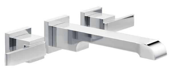 Ara Wall Mount Bathroom Sink Faucet - Two Handle, Metal Pop-Up, Chrome Plated, 1.2 GPM